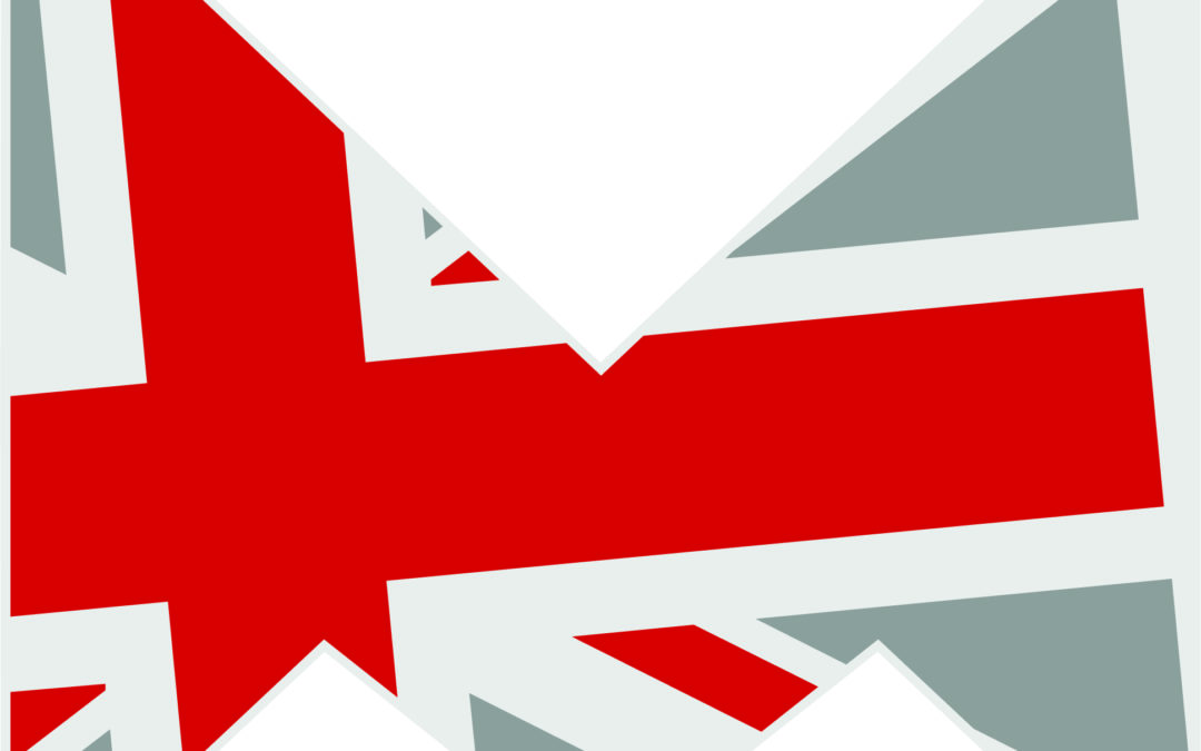 Made n the lidlands logo, a sharp 'm' with a variation of the union flag pattern
