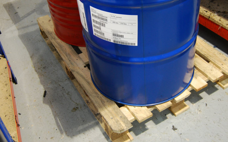 Isocyanate Drums on a wooden pallet to prevent them from freezing on the cold floor.